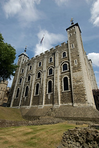 Looking up a building in the Tower of London complex - England