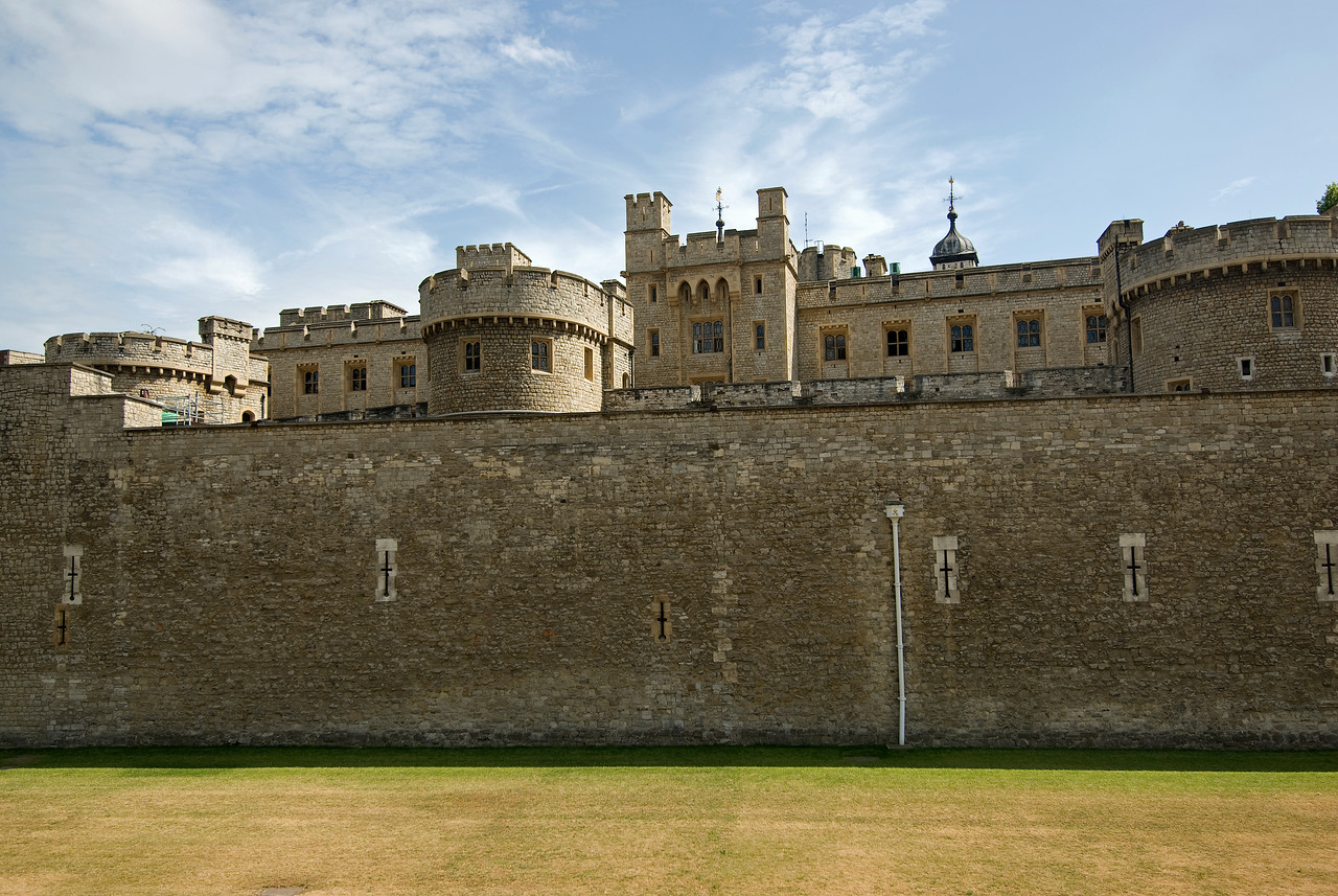 Walled fortress around the Tower of London - England
