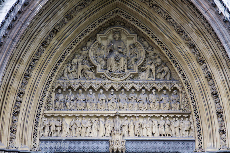 Detail on Westminster Abbey facade, London, England