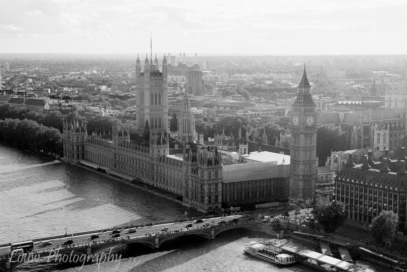 Aerial view of Big Ben and the Houses of Parliament, London, England