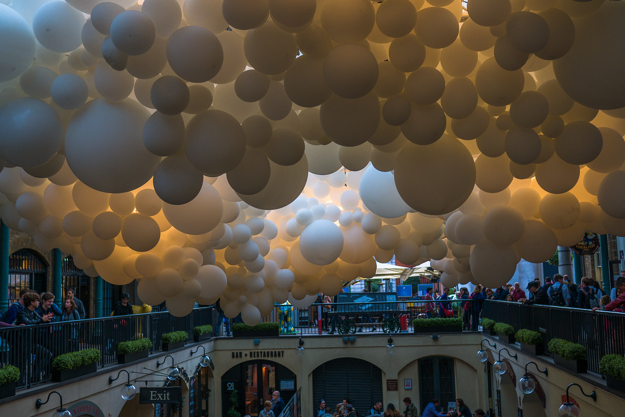A beautiful balloon art exhibition at Covent Garden.  In London, England.
