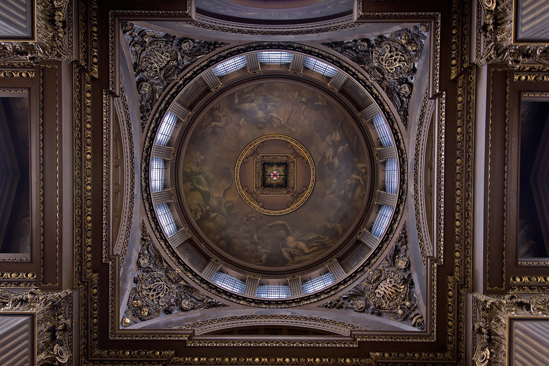 Looking up the ceiling at the Royal Naval College in Greenwich, England