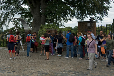 Tourists gathered outside the Royal Observatory in Greenwich, England