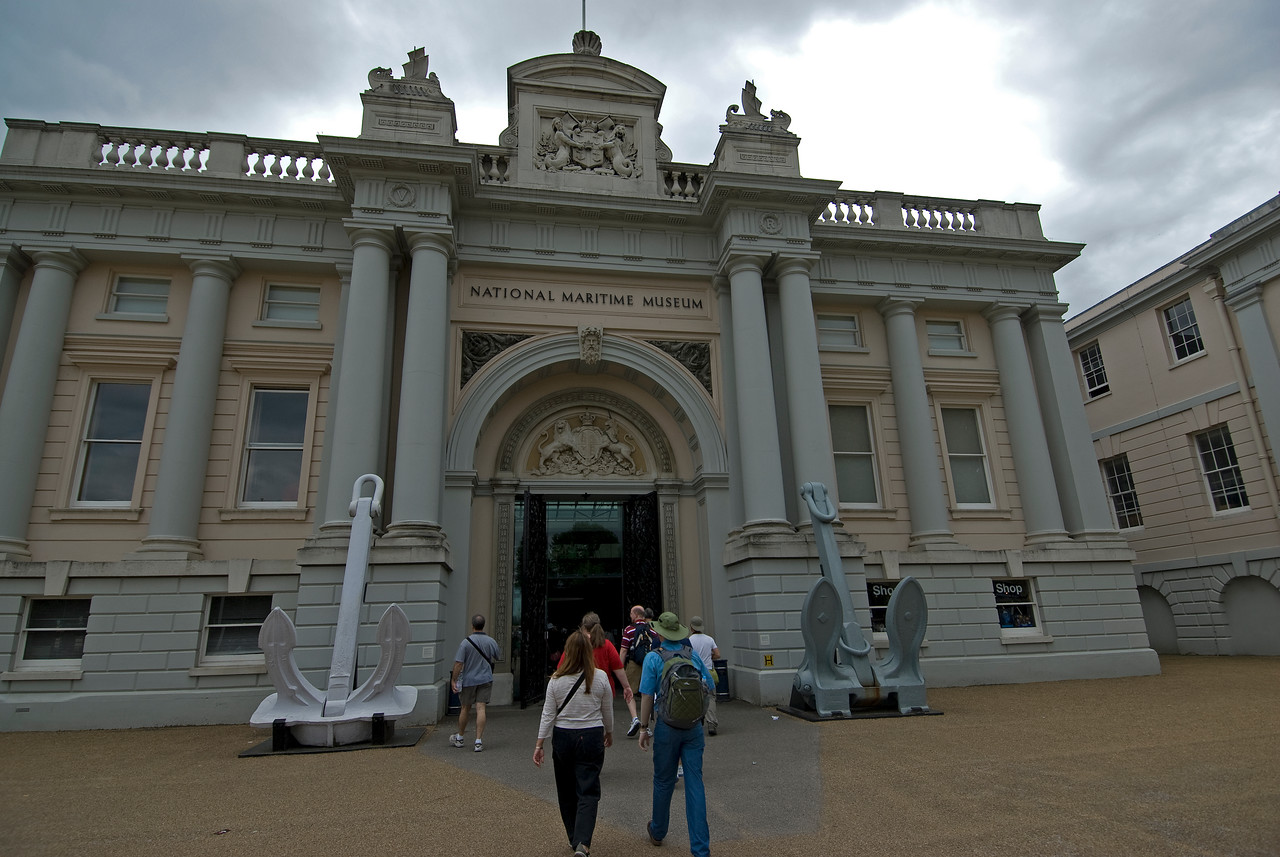The National Maritime Museum facade in Greenwich, England
