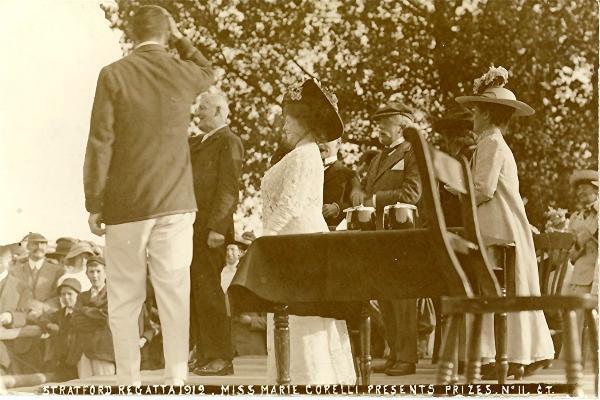 Presenting the prizes at the 1912 Regatta.