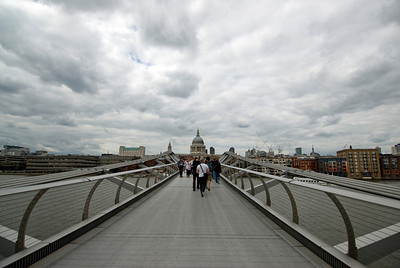View from the Millennium Bridge over Thames River - Westminster, England