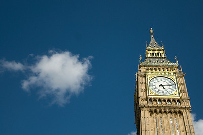 Close-up shot of the clock at Big Ben - England