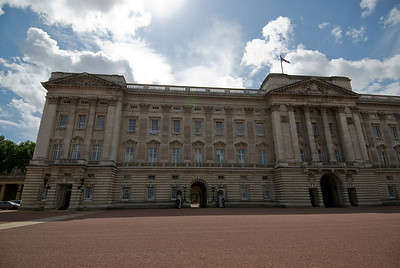 The Buckingham Palace facade in Westminster, England