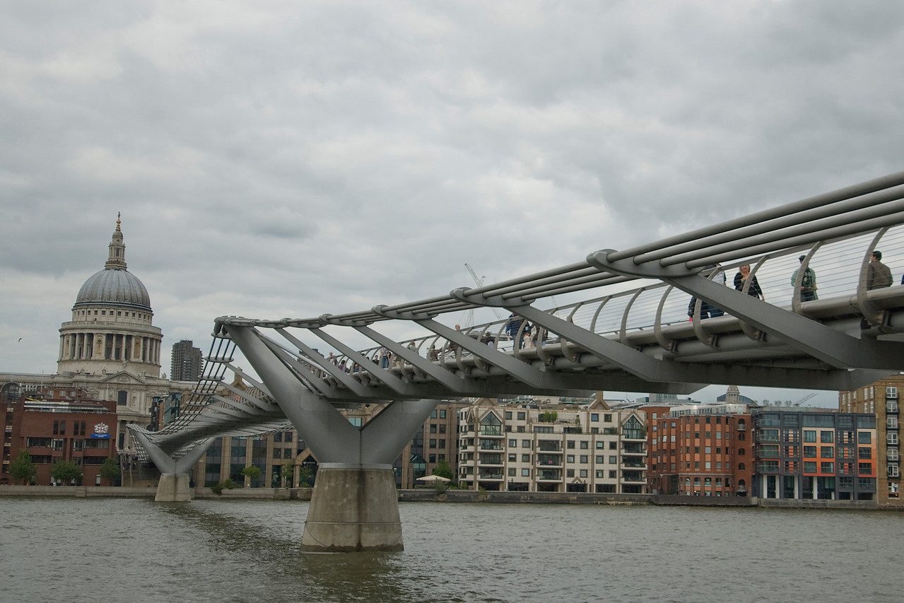 The Millennium Bridge over Thames River in Westminster, England