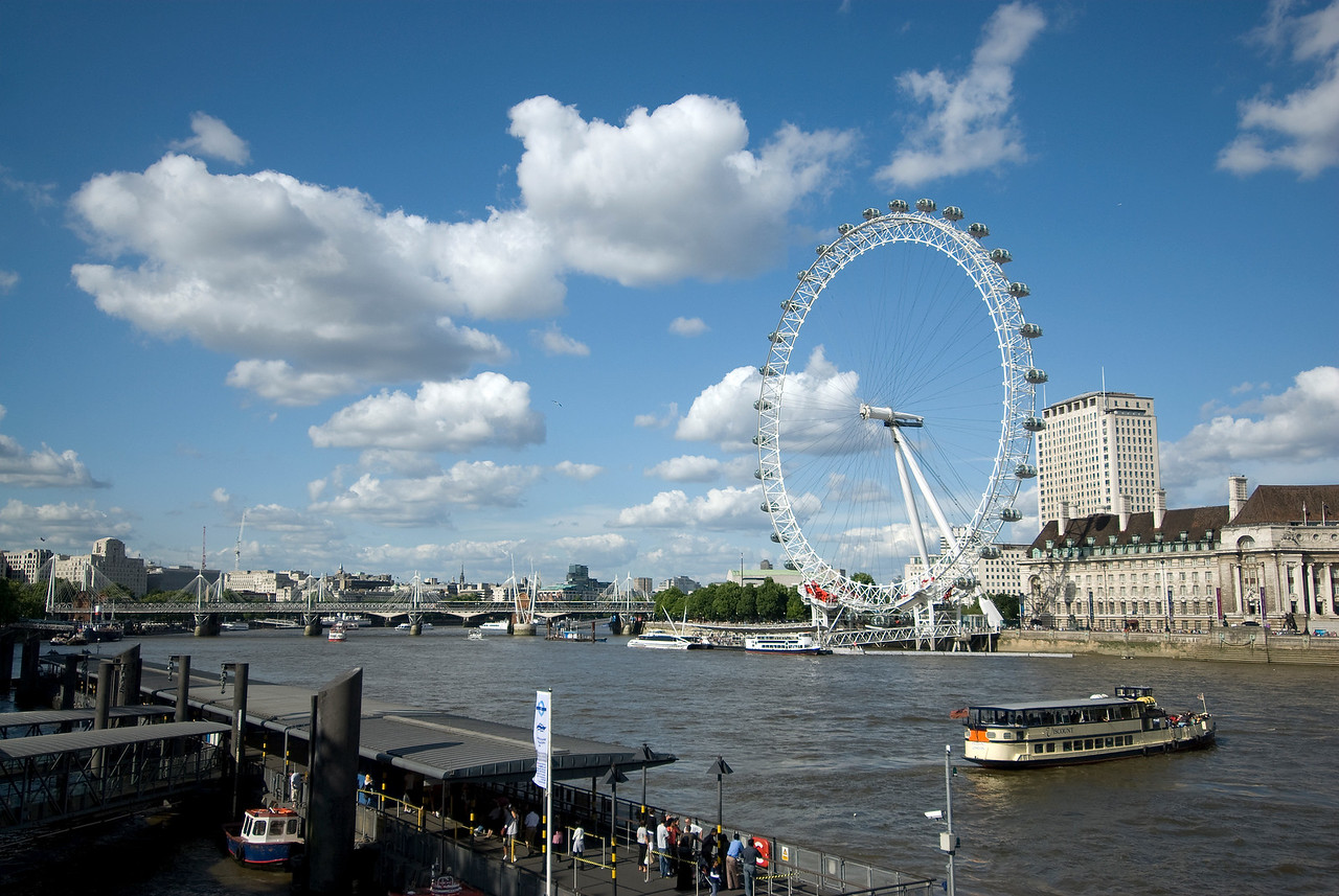 View of the Thames River and the London Eye - Westminster, England