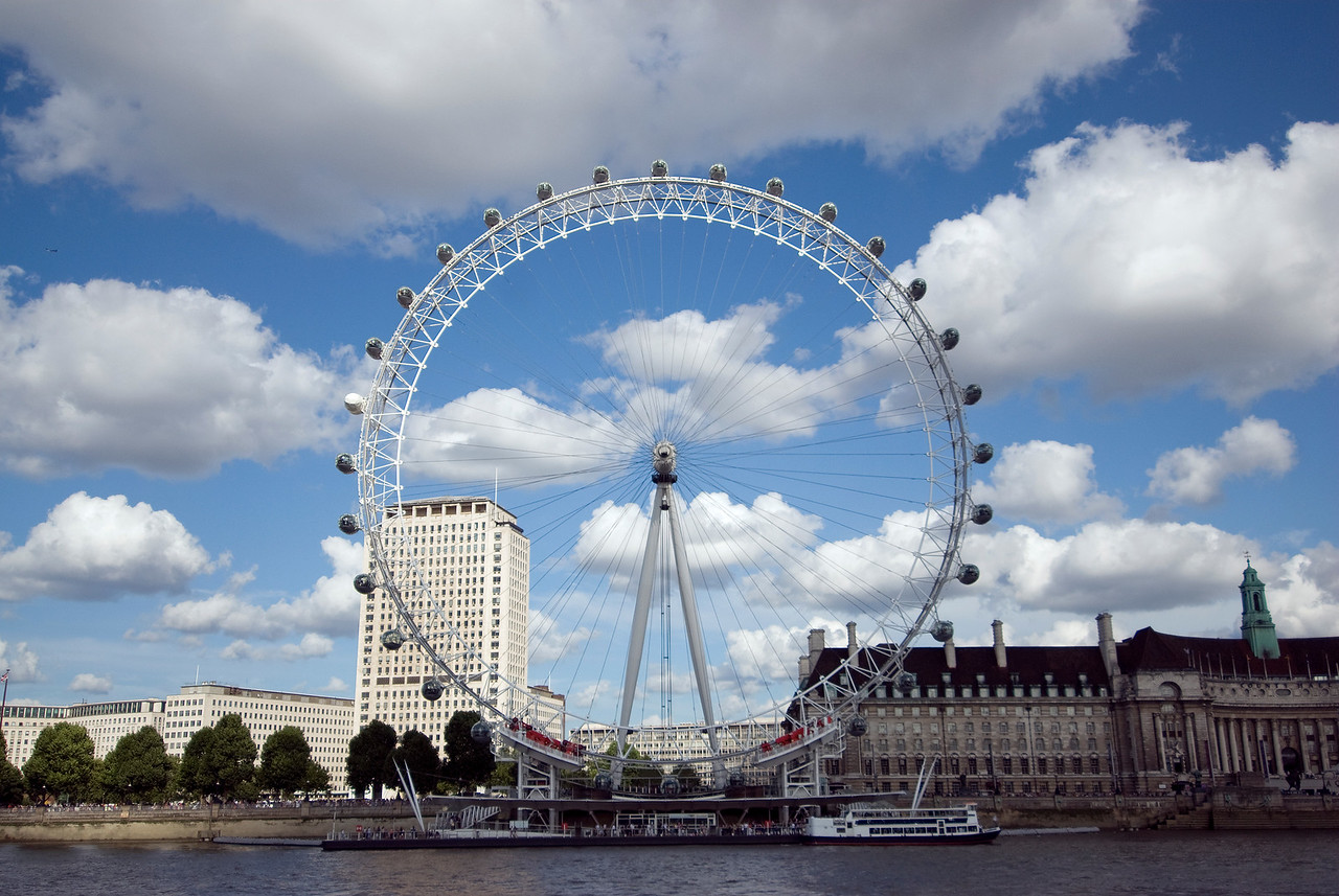 The fascinating London Eye in front of the Thames River in Westminster, England