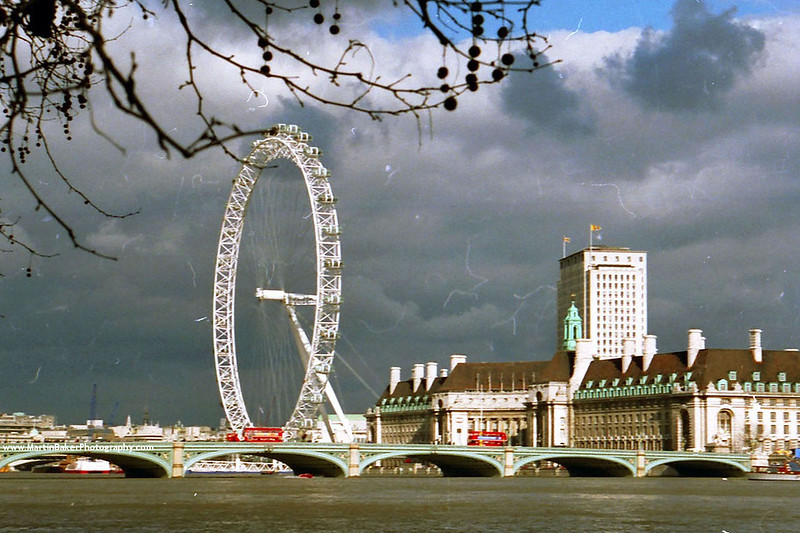The London Eye and River Thames, London, England.