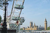 Palace of Westminster and London Eye, London, England.