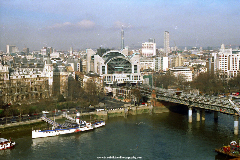 Embankment Station and River Thames, London, England.