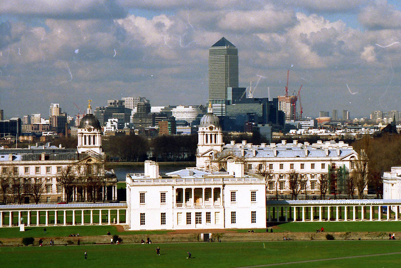 Old Royal Naval College and One Canada Square, Greenwich, London, England.