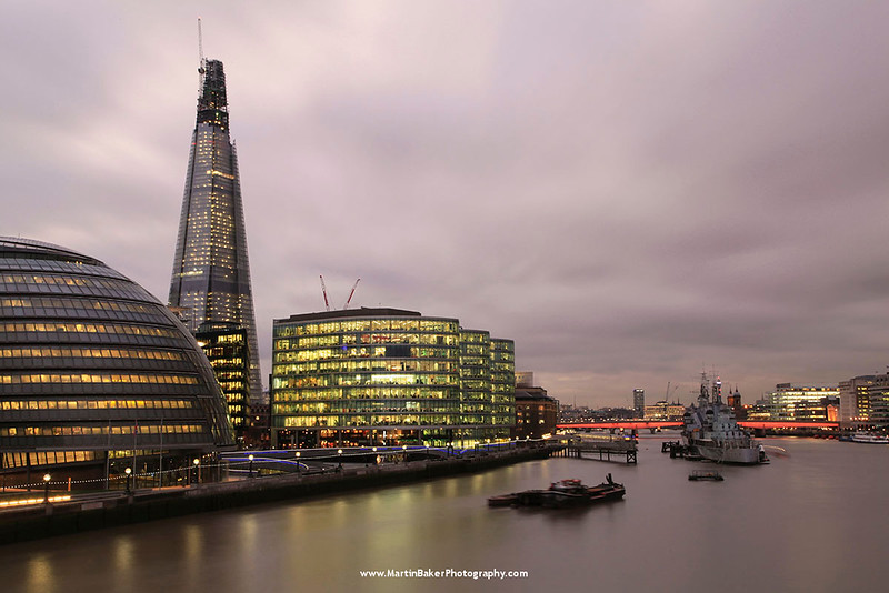 The Shard, the HMS Belfast and River Thames, London, England.