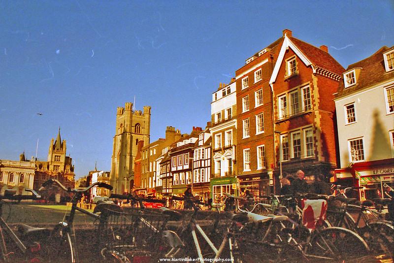 Great St. Mary's Church and King's Parade, Cambridge, Cambridgeshire, England.