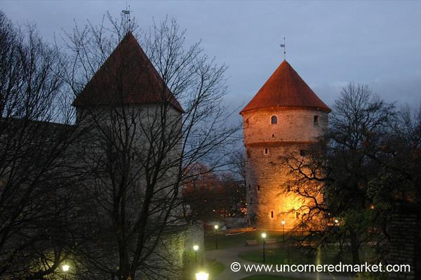 Tallinn's Medieval Towers at Dusk - Estonia
