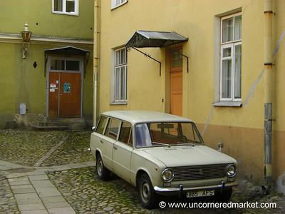 Classic Car and Courtyard - Tallinn, Estonia