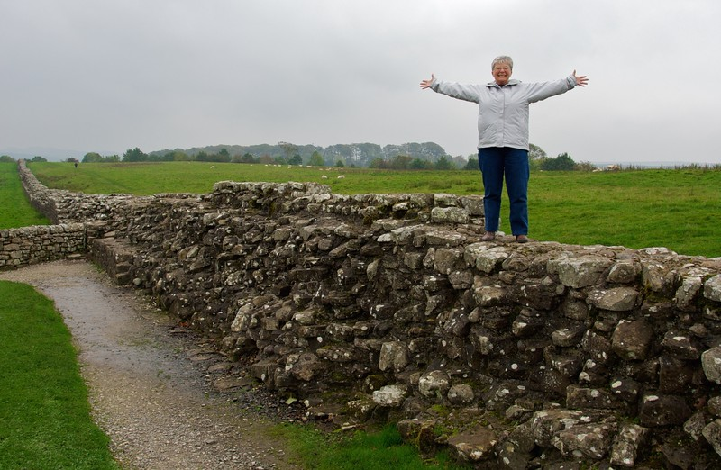 Kathy achieves a life's dream, standing atop Hadrian's wall...