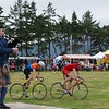 with pipers, cyclists...