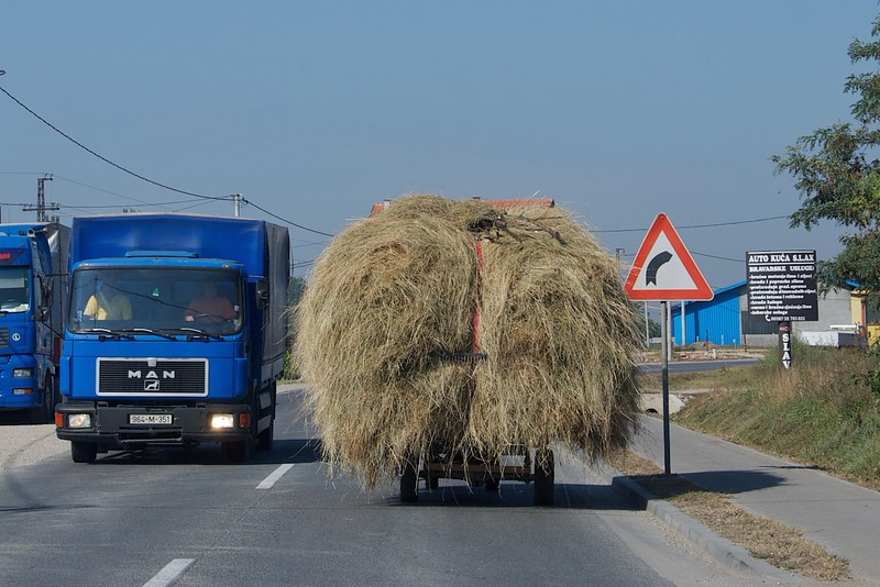 Road warriors: intrepid hay wagon out playing with the big guys....