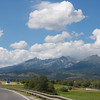The Tatra mountains from the highway.