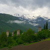 Near Mestia, the civilian defense towers...