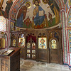 One of the side chapels had recently repainted frescoes...