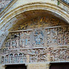 It is famous for the detailed carving of the tympanum above the door, which tells the story of the last judgement...