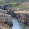 across a bridge over the gorge,