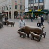 First thing on arriving in Bremen, we checked out the street sculptures -- cool as always.  We liked the juxtaposition between piglets and sandwiches from the local Subway.