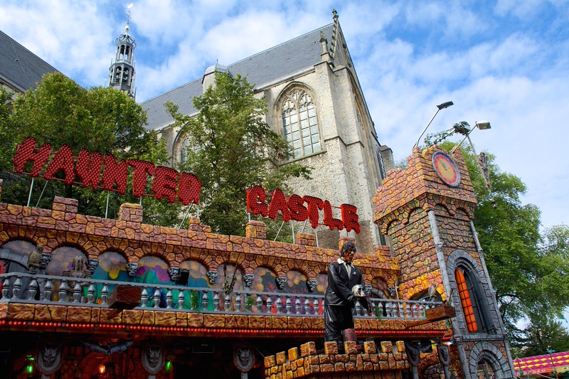 Arriving in Alkmaar, we enjoyed the juxtaposition of the on-going carnival with the lovely 19th century church sharing the plaza.