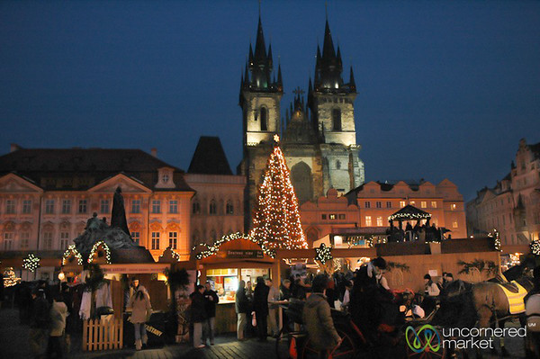 Tyn Church Overlooking Old Town Square Christmas Market - Prague, Czech Republic