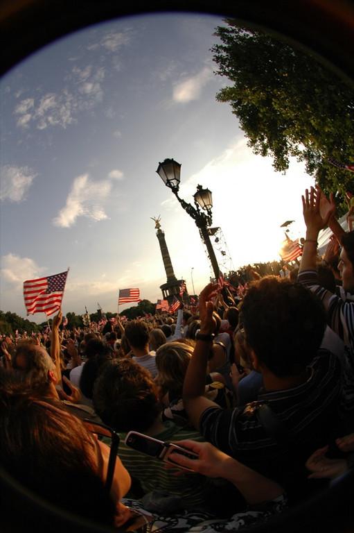 Excited Crowd for Barack Obama - Berlin, Germany