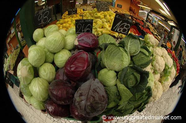 Cabbage in Fisheye, Lehel Market - Budapest, Hungary