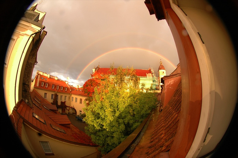 Double Rainbow, Fisheye View - Vilnius, Lithuania