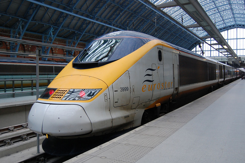 The spare power car, 373999 at London St Pancras on the rear of set 3015 on the 1st September 2009.