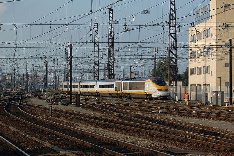 A Eurostar set leaving Bruxelles Midi for London St Pancras on the 21st September 2009.