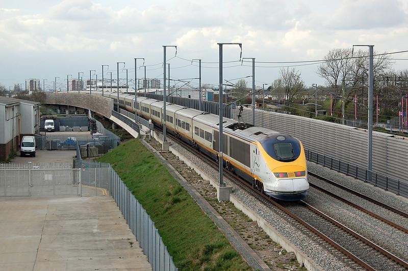 A London bound Eurostar on High Speed 1 at Rainham, Essex.