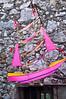 Sailboat kite over shop entrance.  Eze, France