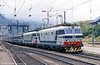 A pair of FS class 633s arrive at Modane with a heavy international service in August 1988. This train will have come from Torino via the Mont Cenis Tunnel and will go forward towards Chambery and Lyon behind SNCF motive power.
