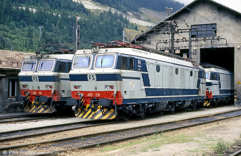 The Italian Railways (FS) depot at Modane on the French-Italian border, with FS class 633s nos 633 213 and 218 on shed in August 1988.