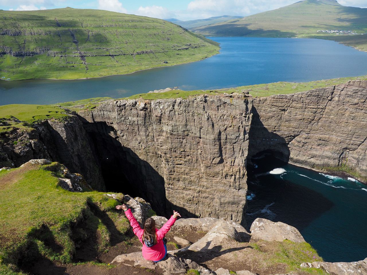 "Chilling by the ""floating lake"" in the Faroe Islands"