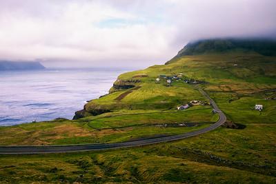 Road going to Gasadalur village in Faroe Islands