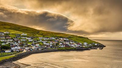 Sunrise above Sandavagur, Faroe Islands, Denmark