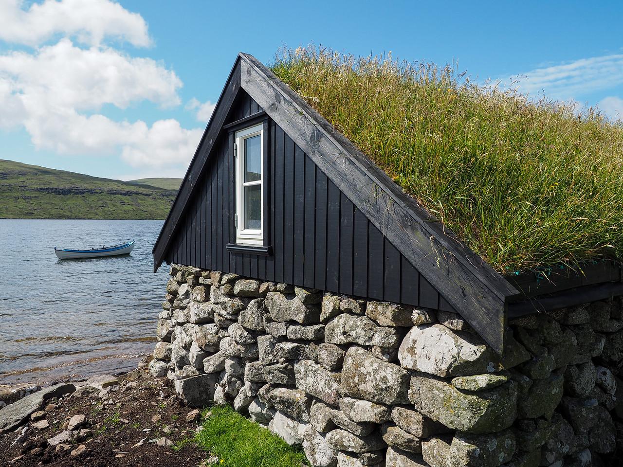 Traditional Faroese fishing cabin