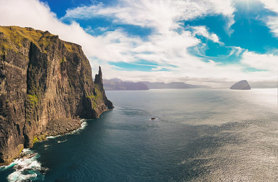 Aerial view of Trollkonufingur, also called The Witch's Finger on Faroe Islands