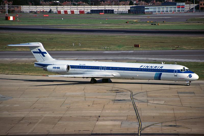 OH-LMS Douglas MD-83 c/n 49252 Heathrow/EGLL/LHR 20-07-97 (35mm slide)