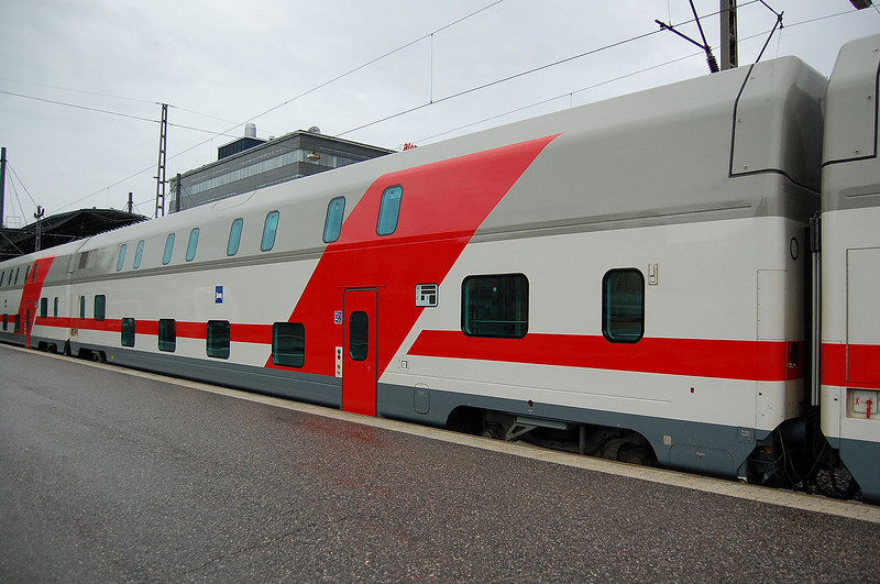 Duble deck sleeping car at Helsinki.